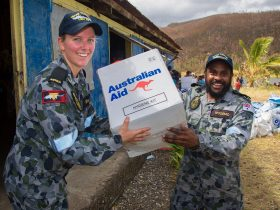 Seaman Alysia Spence and Able Seaman Paul Wosomo, Operation Pacific Assist 2015, Image S20150618