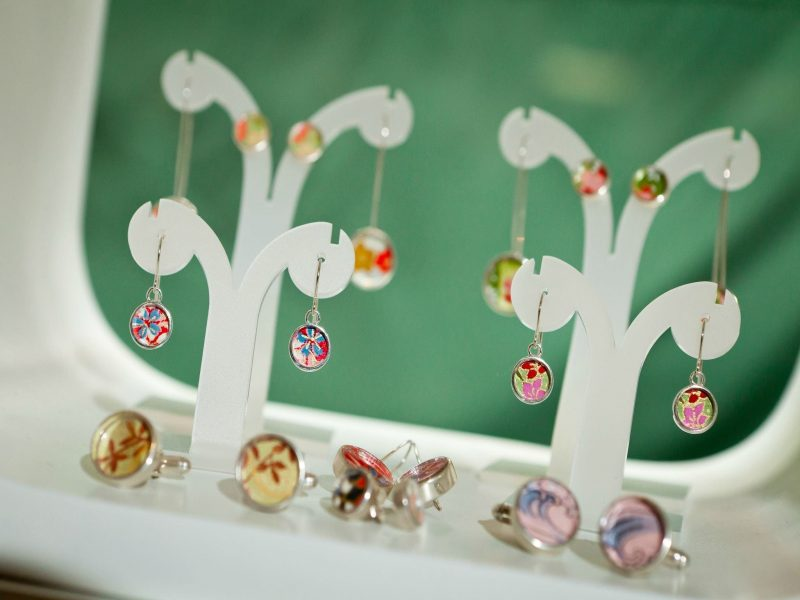 Various silver earrings with japanese paper centres at the Old Bus Depot Markets