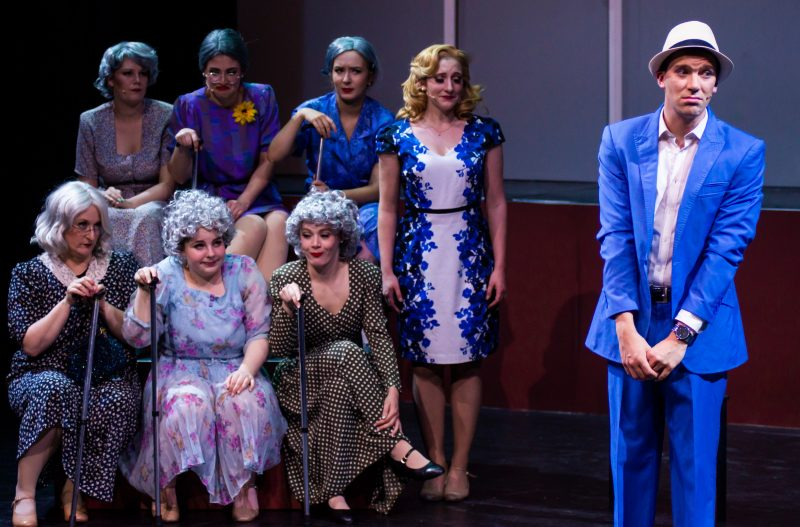 Jason Bensen and Demi Smith as Leo and Ulla, with the ensemble as The Old Ladies