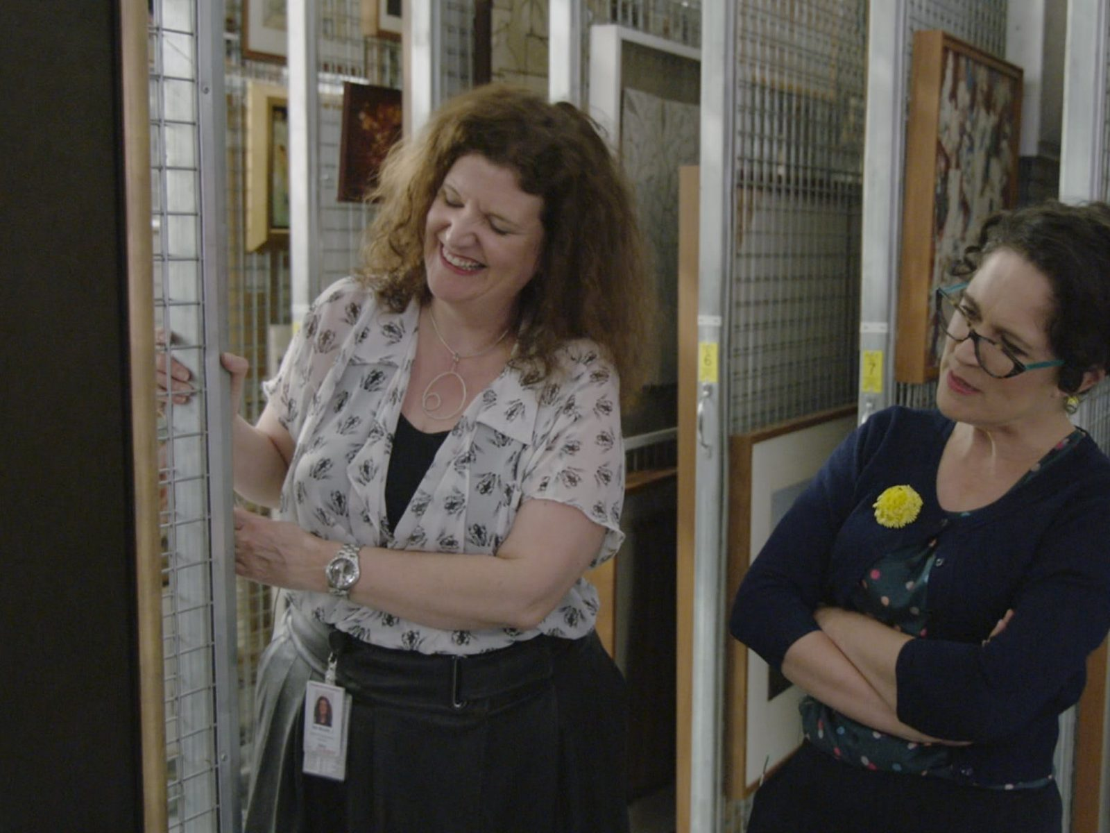 Parliament House Art Director Justine Van Mourik talks with Annabel Crabb while they look at art
