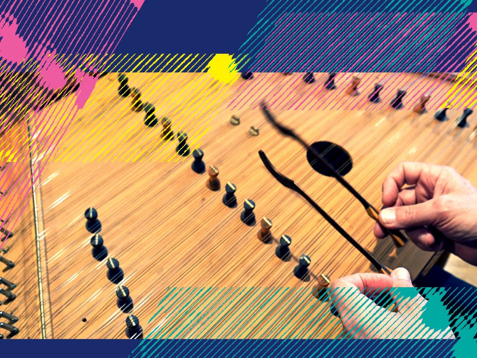 A hammered dulcimer, the instrument featured in this concert!