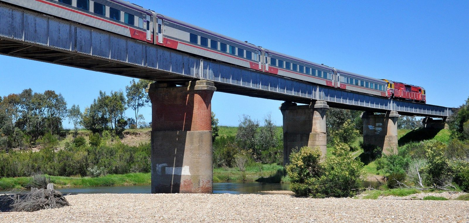 V/Line train crossing a bridge