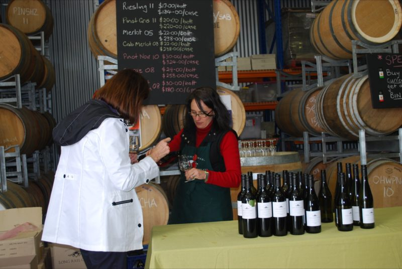 Person tasting wine at Long Rail Gully Wines