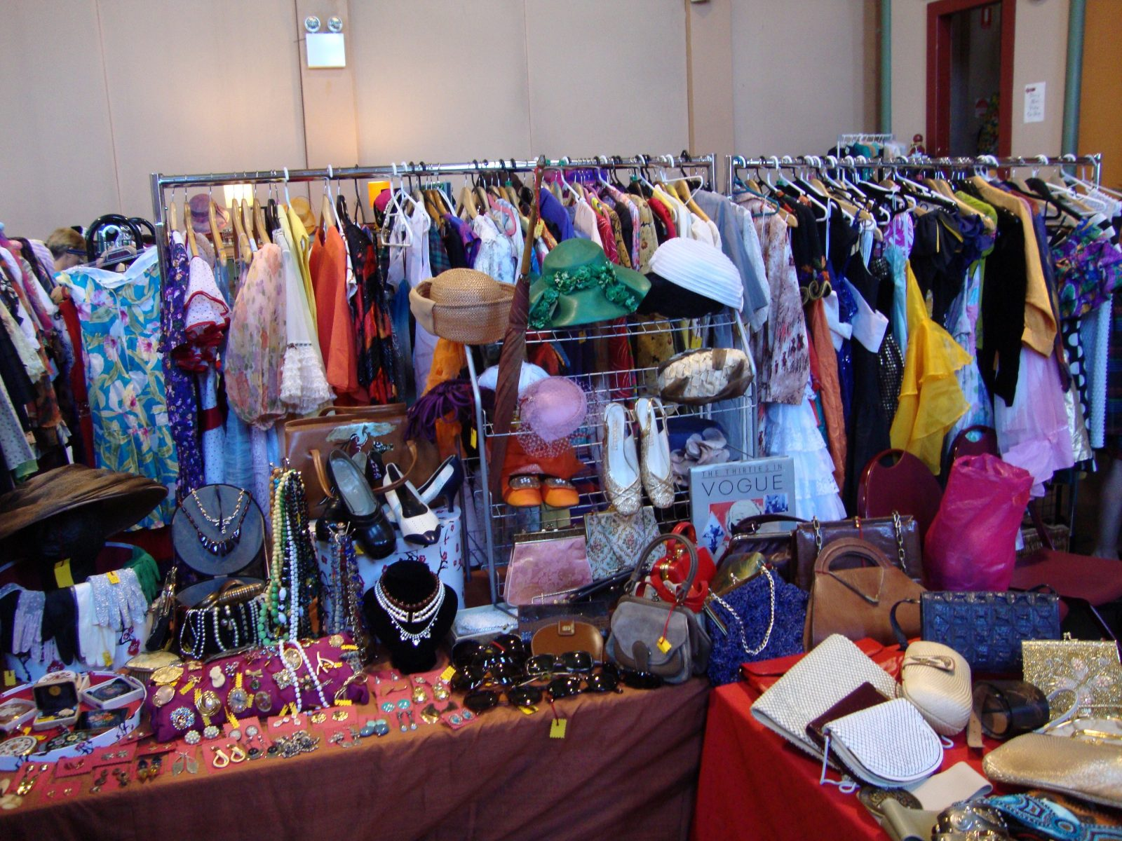 Racks and tables of vintage wares