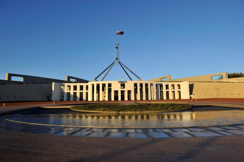Australian Parliament House front side image, with blue sky