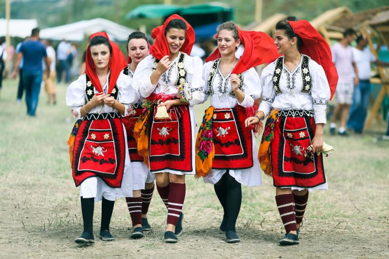 Albanian girls in national traditional clothing