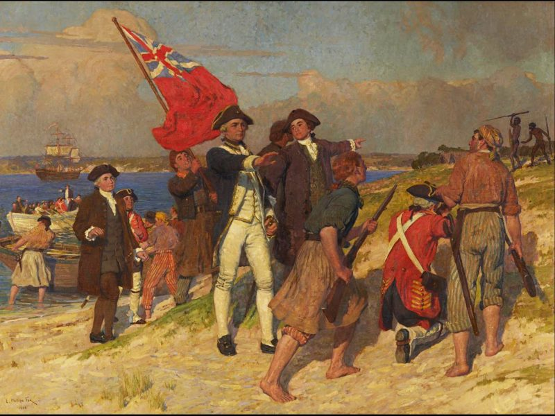 Photo of Captain Cook and party in confrontation at Botany Bay