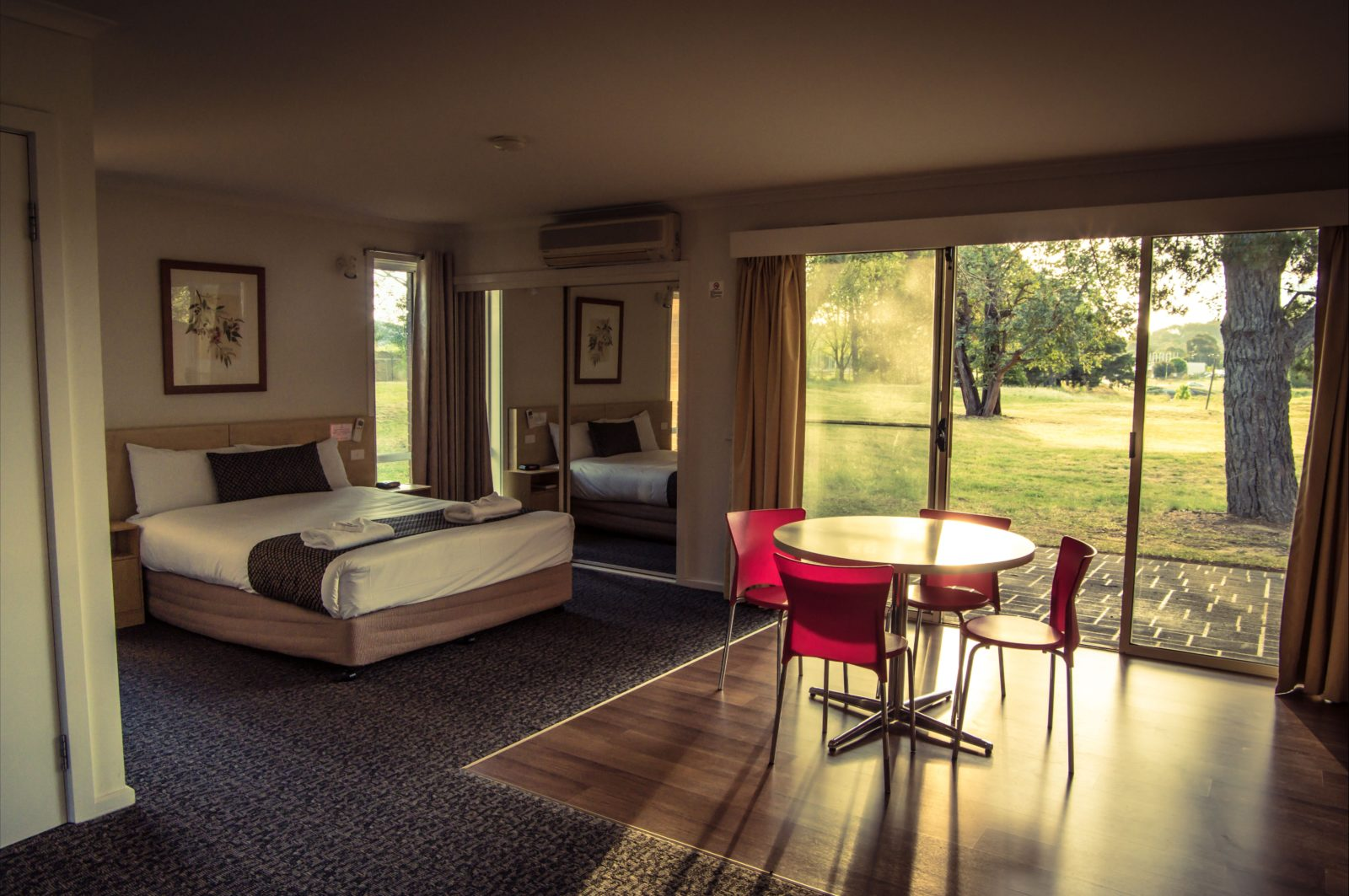 Yowani Country Club motel room interior with views of the golf course