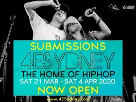 Two performers singing into seperate handheld mics with the caption 4 E sydney The home of hiphop