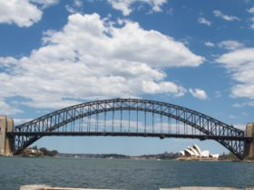 Sydney Harbour Bridge and Opera House seen from the north