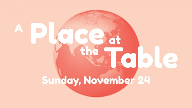 A Place at the Table with globe in background