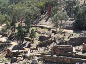 View of the Adelong Falls Gold Mill Ruins