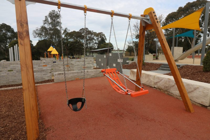 Swing set with disability chair