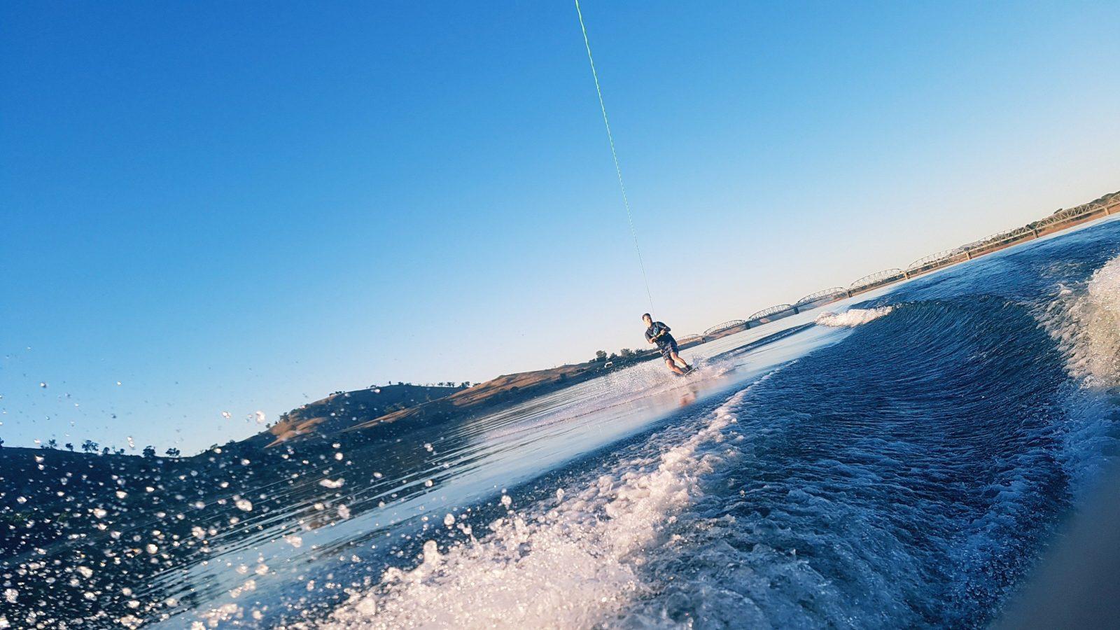 Wake boarding on Lake Hume