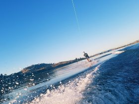 Wake boarding on Lake Hume