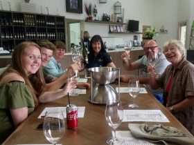 wine tasting fun at Capercaillie Wines