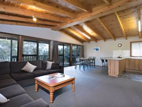 Each cottage features a spacious lounge area.