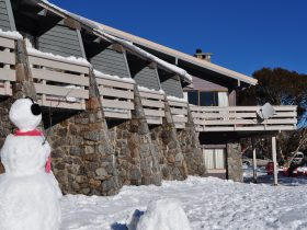 lodge exterior, snowman, snowfalls, snow play