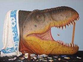 Andrew Sullivan, T-REX (Tyrant Lizard King) (detail), oil on canvas 153cm x 213cm.