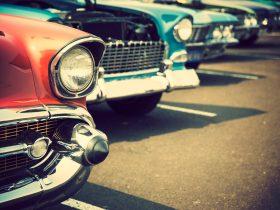 Line up of vintage cars