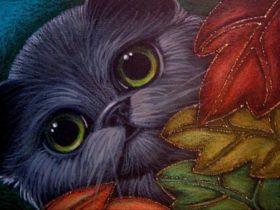 Smokey Persian Cat - Autumn Leaves