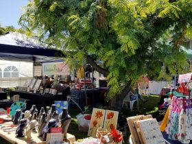 Art stalls on the grass in Red Point Artists Precinct