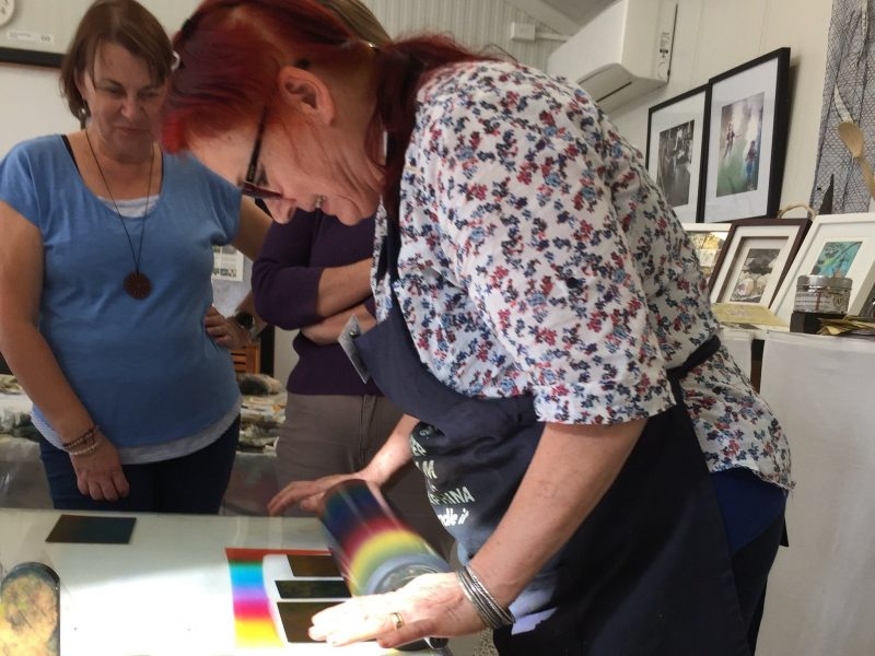 Seraphina uses the power of the sun to develop delicate etching plates which are then printed