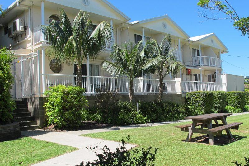 Parkland surrounds the motel