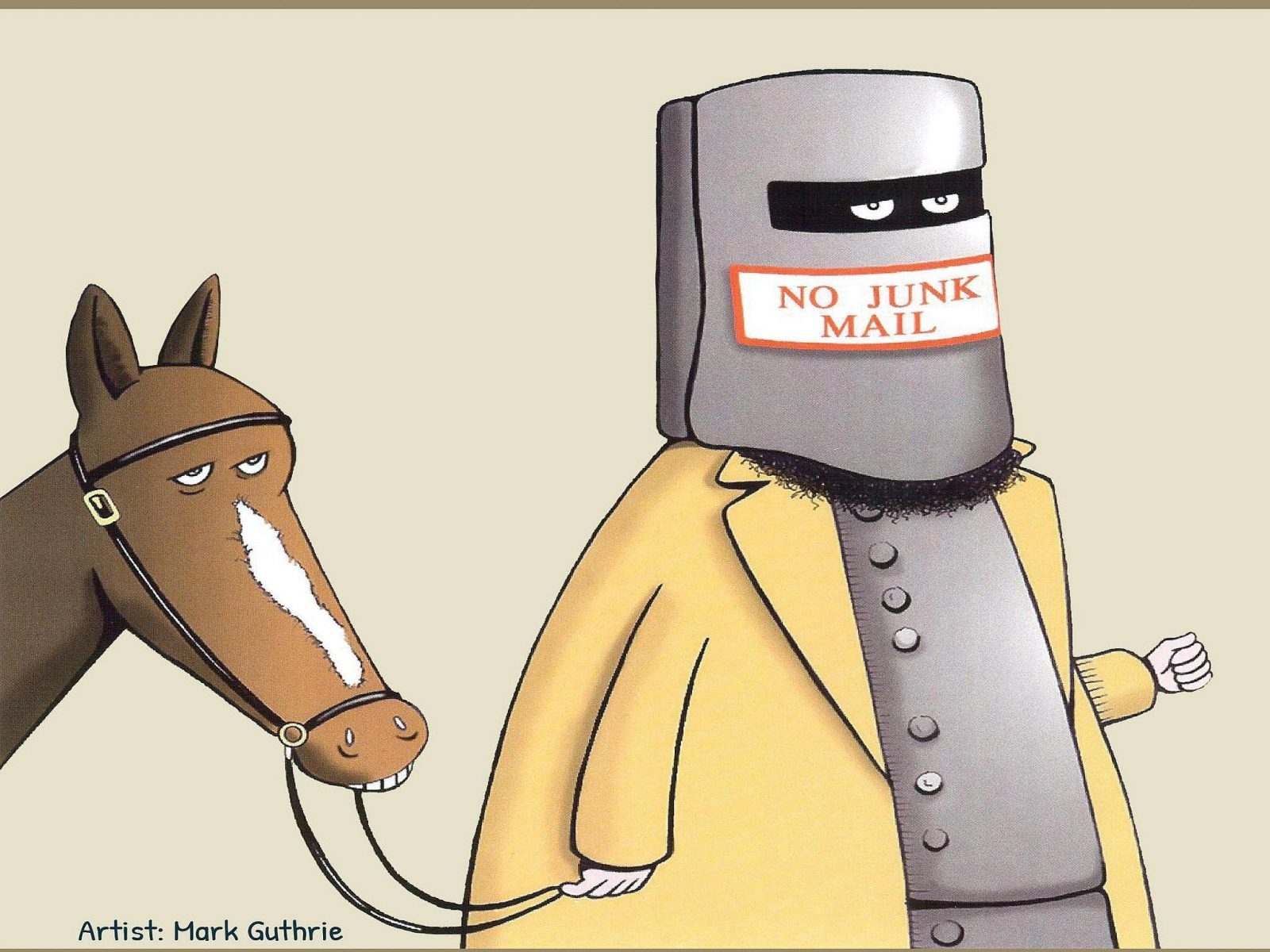 caricature of Ned Kelly, his helmet is a letter box