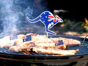 Australia day barbeque with Australian Flags