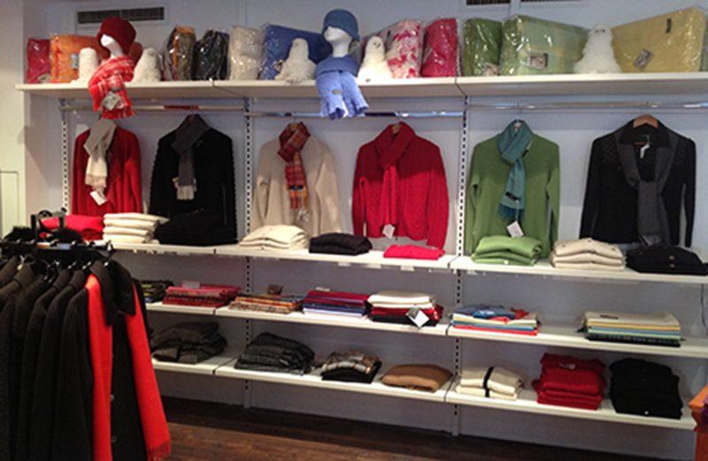 Inside Australian Alpaca Barn Rocks Store showing a selection of Alpaca knitwear