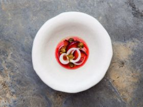 Fermented plums, onions, fried capers