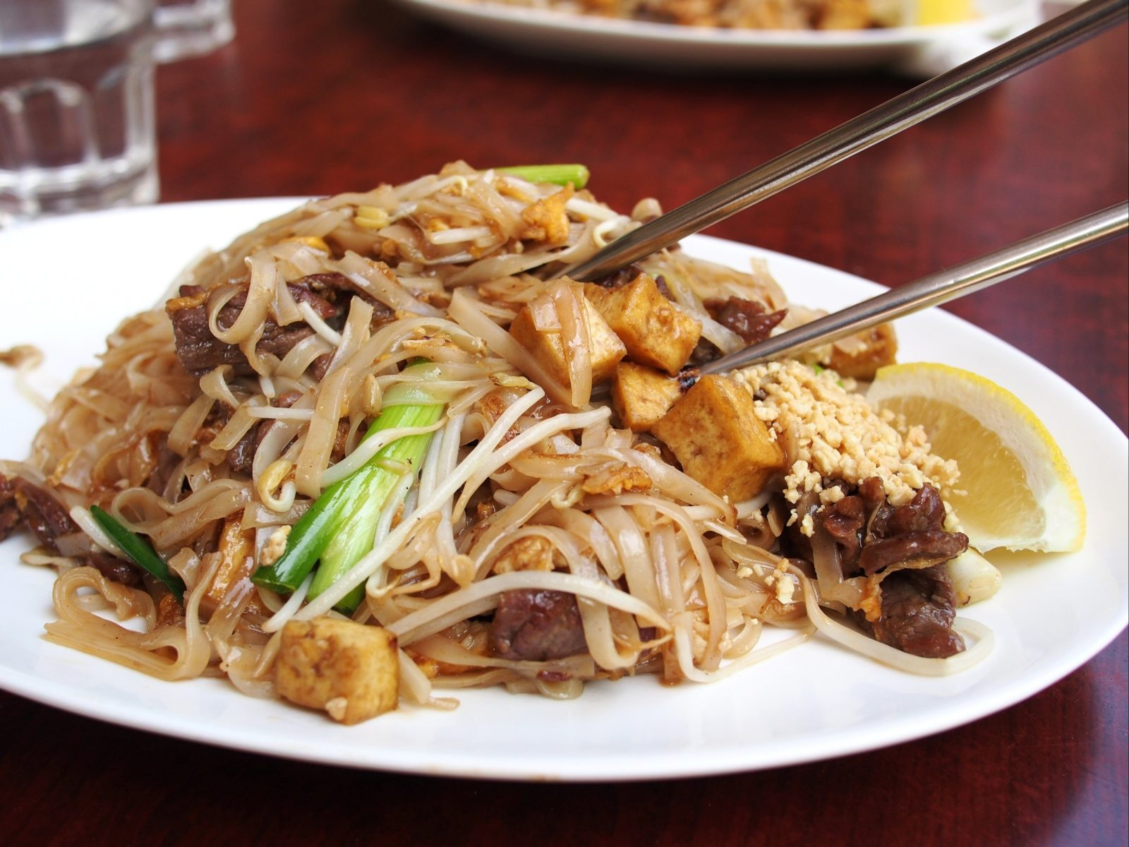 Image of Thai food on a white plate