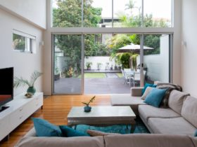 Open living room giving to a private garden