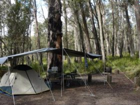 Barokee campground tents, Cathedral Rock National Park