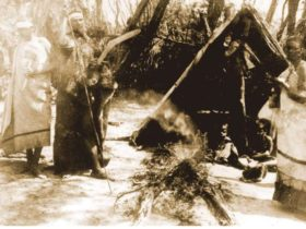Picture early Indigenous camp