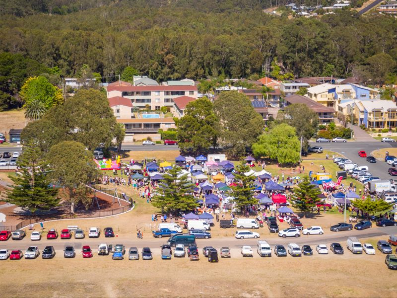 Aerial View - Rotary Batemans Bay Sunday Market - Corrigan's Beach Reserve