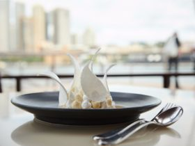 Signature pavlova dessert served at Bennelong Restaurant