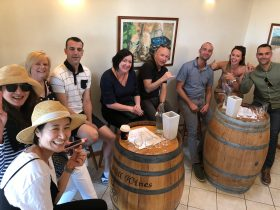 A Best Tour group enjoying the wines at Ernest Hill Wines.