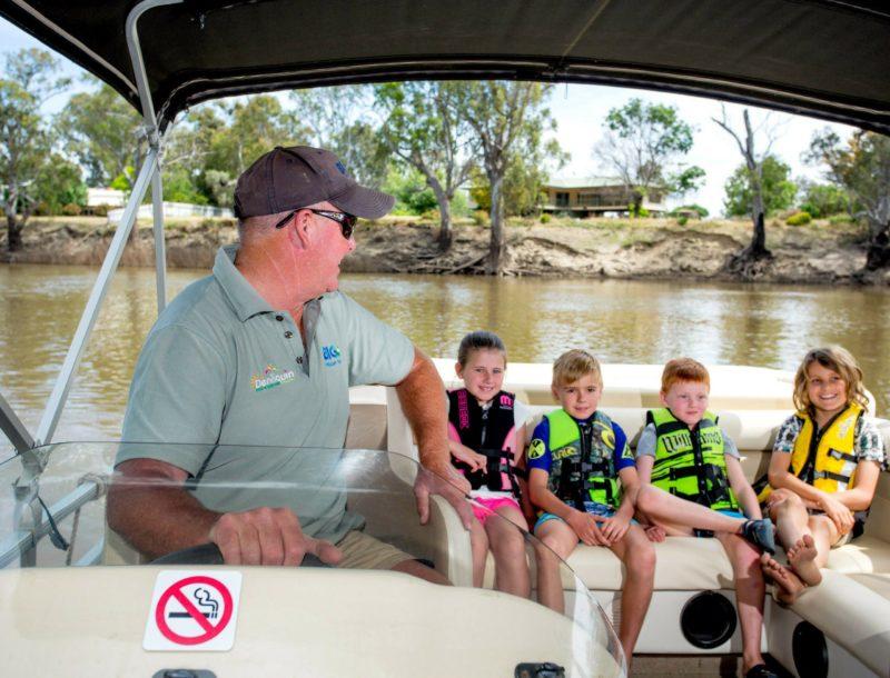 Kids love taking a trip on BIG4 Deni's Pontoon Boat