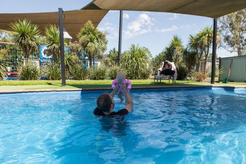 Family in the swimming pool at BIG4 Wagga Wagga Holiday Park in Wagga Wagga