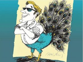 Half-man, half-peacock cartoon image