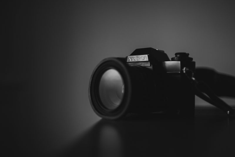 Black and white photo of camera