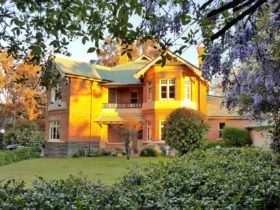 Front of Blair Athol Manor Home in the sunset