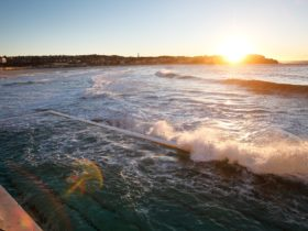 Sunrise at Bondi Beach with Bondi ocean pool in foreground. View from Bondi Icebergs Club