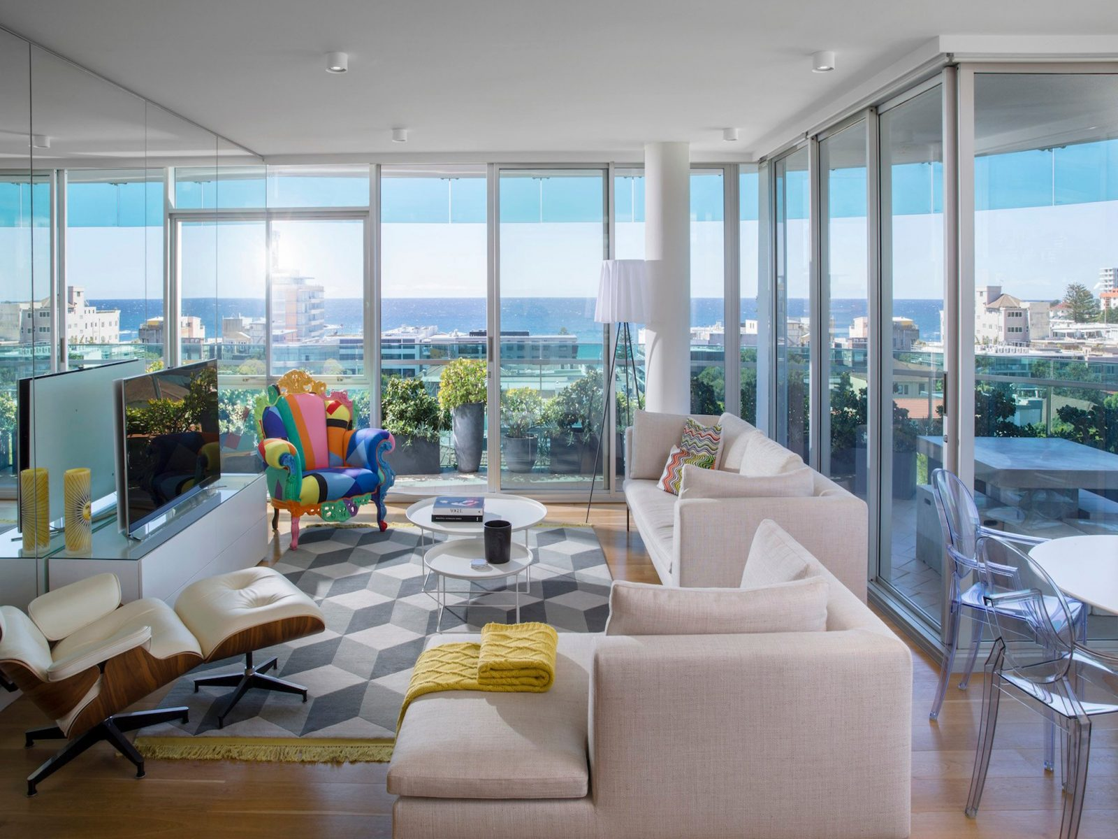 Stunning living area with breathtaking city views