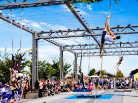 Circus performers on aerial apparatus at Junction Square, Wodonga.