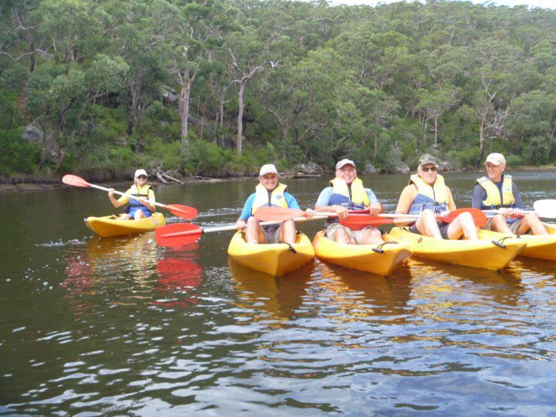 People in kayaks on guided Bundeena kayak tour