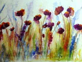 Watercolour painting of poppies