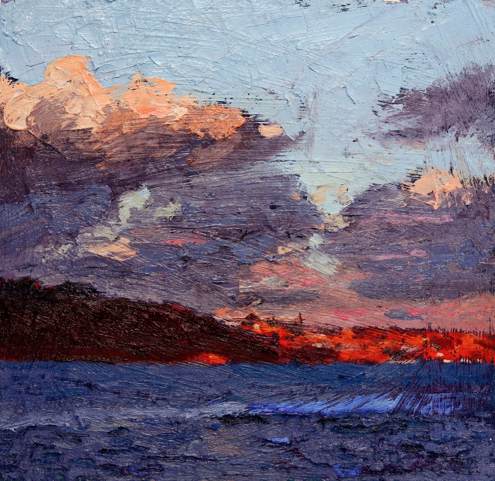 Ashley Frost, Middle Head study, oil on board, 33 x 32 cm